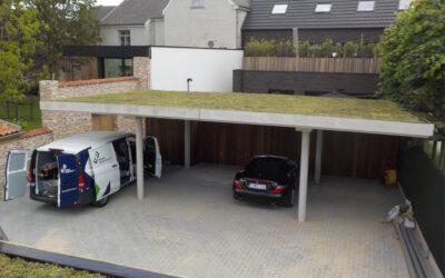 Étanchéité bitumineux et toiture verte sur la toiture d'une carport (De Clercq Invest – Beveren)